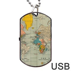 Vintage World Map Dog Tag Usb Flash (two Sides)