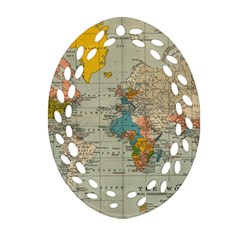Vintage World Map Oval Filigree Ornament (two Sides) by BangZart