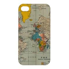 Vintage World Map Apple Iphone 4/4s Premium Hardshell Case by BangZart