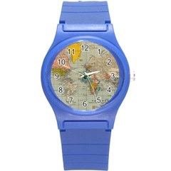 Vintage World Map Round Plastic Sport Watch (s) by BangZart