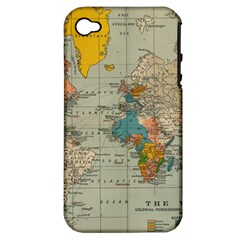 Vintage World Map Apple Iphone 4/4s Hardshell Case (pc+silicone) by BangZart