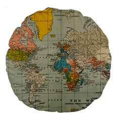 Vintage World Map Large 18  Premium Round Cushions