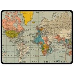 Vintage World Map Double Sided Fleece Blanket (large)  by BangZart