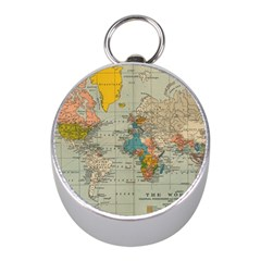 Vintage World Map Mini Silver Compasses by BangZart