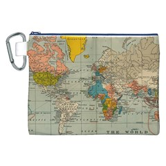 Vintage World Map Canvas Cosmetic Bag (xxl) by BangZart