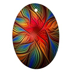 Vintage Colors Flower Petals Spiral Abstract Ornament (oval) by BangZart