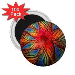 Vintage Colors Flower Petals Spiral Abstract 2 25  Magnets (100 Pack)