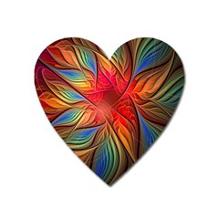 Vintage Colors Flower Petals Spiral Abstract Heart Magnet by BangZart