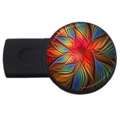 Vintage Colors Flower Petals Spiral Abstract Usb Flash Drive Round (2 Gb)