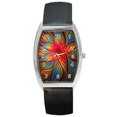Vintage Colors Flower Petals Spiral Abstract Barrel Style Metal Watch
