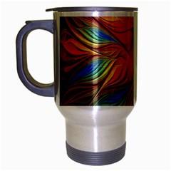 Vintage Colors Flower Petals Spiral Abstract Travel Mug (silver Gray)