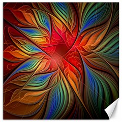 Vintage Colors Flower Petals Spiral Abstract Canvas 16  X 16