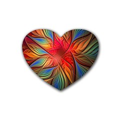 Vintage Colors Flower Petals Spiral Abstract Rubber Coaster (heart)  by BangZart