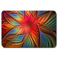 Vintage Colors Flower Petals Spiral Abstract Large Doormat  by BangZart