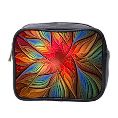 Vintage Colors Flower Petals Spiral Abstract Mini Toiletries Bag 2 Side