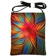Vintage Colors Flower Petals Spiral Abstract Shoulder Sling Bags by BangZart