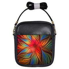 Vintage Colors Flower Petals Spiral Abstract Girls Sling Bags by BangZart