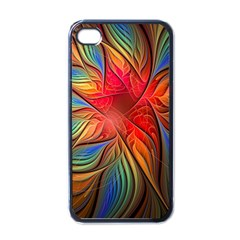 Vintage Colors Flower Petals Spiral Abstract Apple Iphone 4 Case (black) by BangZart