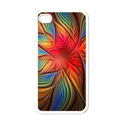 Vintage Colors Flower Petals Spiral Abstract Apple Iphone 4 Case (white)