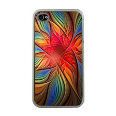 Vintage Colors Flower Petals Spiral Abstract Apple Iphone 4 Case (clear)