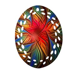 Vintage Colors Flower Petals Spiral Abstract Ornament (oval Filigree)