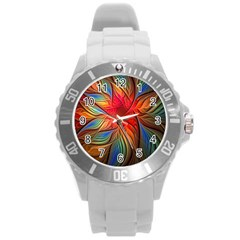 Vintage Colors Flower Petals Spiral Abstract Round Plastic Sport Watch (l)
