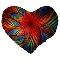 Vintage Colors Flower Petals Spiral Abstract Large 19  Premium Heart Shape Cushions by BangZart