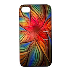Vintage Colors Flower Petals Spiral Abstract Apple Iphone 4/4s Hardshell Case With Stand by BangZart
