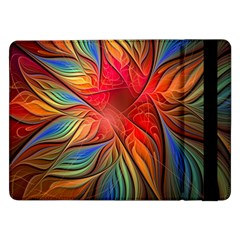 Vintage Colors Flower Petals Spiral Abstract Samsung Galaxy Tab Pro 12 2  Flip Case