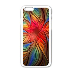 Vintage Colors Flower Petals Spiral Abstract Apple Iphone 6/6s White Enamel Case by BangZart
