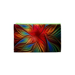 Vintage Colors Flower Petals Spiral Abstract Cosmetic Bag (xs) by BangZart