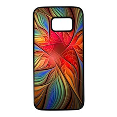 Vintage Colors Flower Petals Spiral Abstract Samsung Galaxy S7 Black Seamless Case