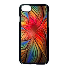 Vintage Colors Flower Petals Spiral Abstract Apple Iphone 7 Seamless Case (black)