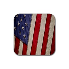 Usa Flag Rubber Square Coaster (4 Pack)  by BangZart