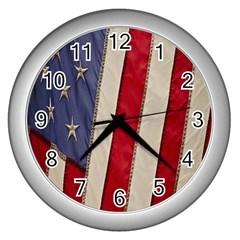 Usa Flag Wall Clocks (silver)  by BangZart