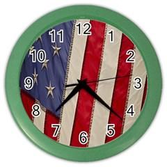 Usa Flag Color Wall Clocks by BangZart