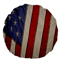 Usa Flag Large 18  Premium Flano Round Cushions by BangZart