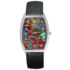 Vector Art Pattern Barrel Style Metal Watch by BangZart