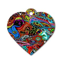 Vector Art Pattern Dog Tag Heart (two Sides) by BangZart