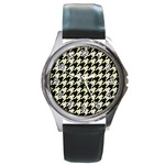 HOUNDSTOOTH2 BLACK MARBLE & BEIGE LINEN Round Metal Watch