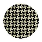 HOUNDSTOOTH2 BLACK MARBLE & BEIGE LINEN Ornament (Round)