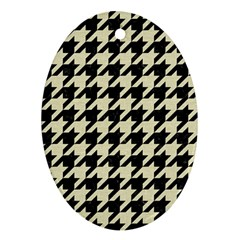 Houndstooth2 Black Marble & Beige Linen Ornament (oval) by trendistuff