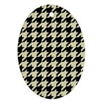 HOUNDSTOOTH2 BLACK MARBLE & BEIGE LINEN Ornament (Oval)