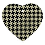 HOUNDSTOOTH2 BLACK MARBLE & BEIGE LINEN Ornament (Heart)