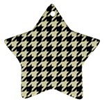 HOUNDSTOOTH2 BLACK MARBLE & BEIGE LINEN Ornament (Star)