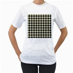 HOUNDSTOOTH2 BLACK MARBLE & BEIGE LINEN Women s T-Shirt (White) (Two Sided)