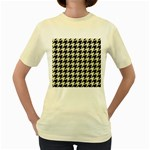 HOUNDSTOOTH2 BLACK MARBLE & BEIGE LINEN Women s Yellow T-Shirt