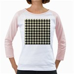 HOUNDSTOOTH2 BLACK MARBLE & BEIGE LINEN Girly Raglans