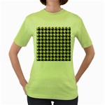 HOUNDSTOOTH2 BLACK MARBLE & BEIGE LINEN Women s Green T-Shirt