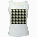 HOUNDSTOOTH2 BLACK MARBLE & BEIGE LINEN Women s White Tank Top